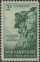 United States of America 1955 New Hampshire - The Old Man of the Mountains a