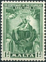 Malta 1951 700th Anniversary of the Scapular a