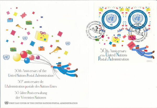 United Nations-New York 2001 50th Anniversary of United Nations Postal Administration FDCa