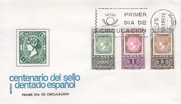Spain 1965 Centenary of the 1st Spanish Perforated Postage Stamps FDCc