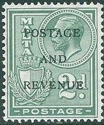 Malta 1928 George V and Coat of Arms Ovpt POSTAGE AND REVENUE g