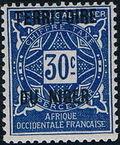 Niger 1921 Postage Due Stamps of Upper Senegal and Niger Overprinted e