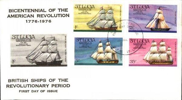 St Lucia 1976 200th Anniversary of American Revolution - Revolutionary Era Ships FDCa