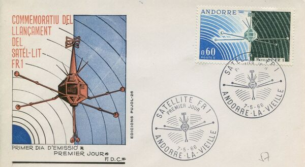 Andorra-French 1966 Launch of the French Satellite FR 1 FDCc
