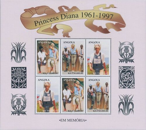 Angola 1998 1st Anniversary of the Death of Diana (3rd Group) Sa