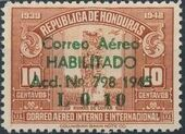 Honduras 1945 Air Post Stamps of 1937-1939 Surcharged d
