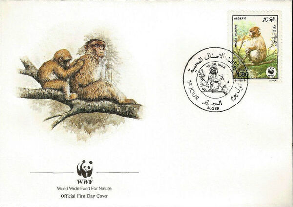 Algeria 1988 WWF - Barbary Macaque FDCd