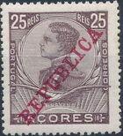 Azores 1911 D. Manuel II Overprinted REPUBLICA f