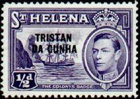 Tristan da Cunha 1952 Stamps of St. Helena Overprinted a