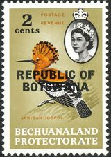 Botswana 1966 Overprint REPUBLIC OF BOTSWANA on Bechuanaland 1961 b