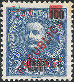 Kionga 1916 D Carlos I from Lourenço Marques with Overprint and Surcharged a