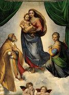 300px-RAFAEL - Madonna Sixtina (Gemäldegalerie Alter Meister, Dresde, 1513-14 Óleo sobre lienzo, 265 x 196 cm)