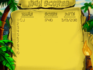 Jsspell high score screen