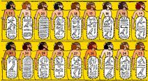 Description of Israelites and Judean war prisoners from Shoshenq I's (Biblical Shishak) campign to Canaan. Karnak, 926-5 BCE. Canaanites-Hebrews-Israelites-Jews-Samaritans. Asiatics-Semites-Semitics. COLORED VERSION (golden