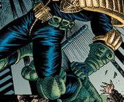 Dredd preparing to use his boot knife