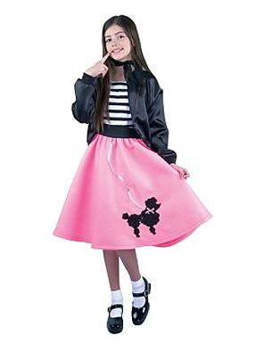 A Poodle Skirt Is Wide Swing Felt Of Solid Bright Bold Color Often Pink And Powder Blue Displaying Design Appliqueed Or