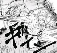 Nanami saves Yuji from Mahito