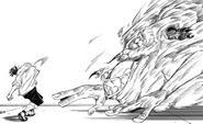 Yuji smashing the Curse, after taking Sukuna's finger