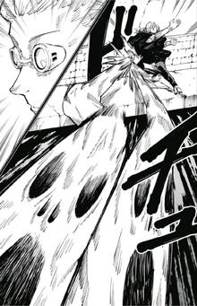 Mahito attacking Nanami with disfigured souls