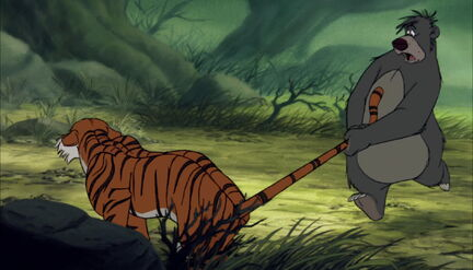 Baloo the Bear is still grabing Shere Khan the tiger's tail