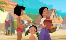 Mowgli gave Shanti her water jug back