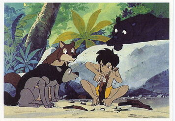 Akru, Sura and Bagheera watching Mowgli Crave