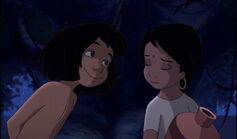Shanti knows Mowgli's blinking his eyes at her