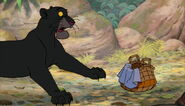 Bagheera The Black Panther is scared of little baby Mowgli's crying