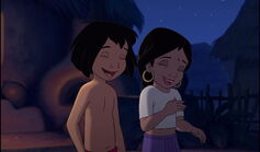 Mowgli and Shanti are both laughing
