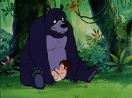 Baby Mowgli Sleeping on Baloo