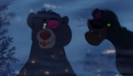 Bagheera the Black Panther and Baloo the Bear are both looking at their black eyes