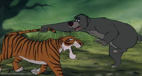 Baloo the Bear is grabbing Shere Khan the Tiger's tail