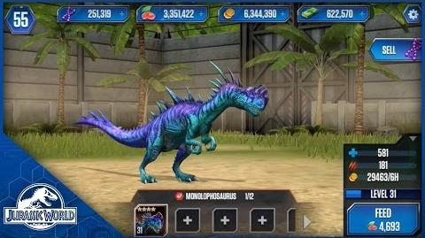 Monolophosaurus Feeding Level 31 - Jurassic World The Game