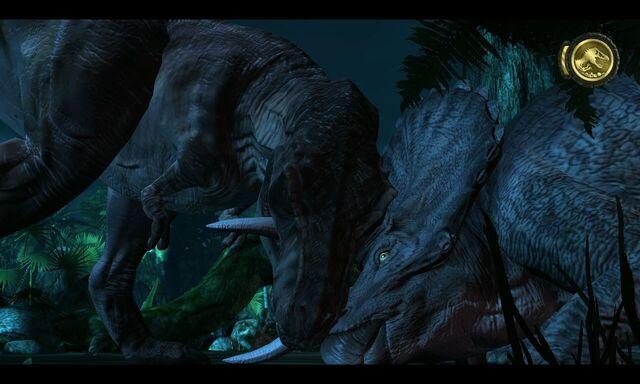 File:562660-jurassic-park-the-game-windows-screenshot-t-rex-vs-alpha-triceratop.jpg
