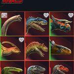 JW- Facts App Battle at Big Rock Allosaurus and Nasutoceratops icons