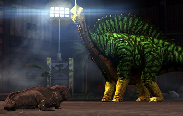 File:Ichthyostega and Argentinosaurus in the Arena.jpeg