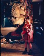 Sasha Spielberg and T-rex BTS