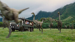 Gallimimus-running-by-truck