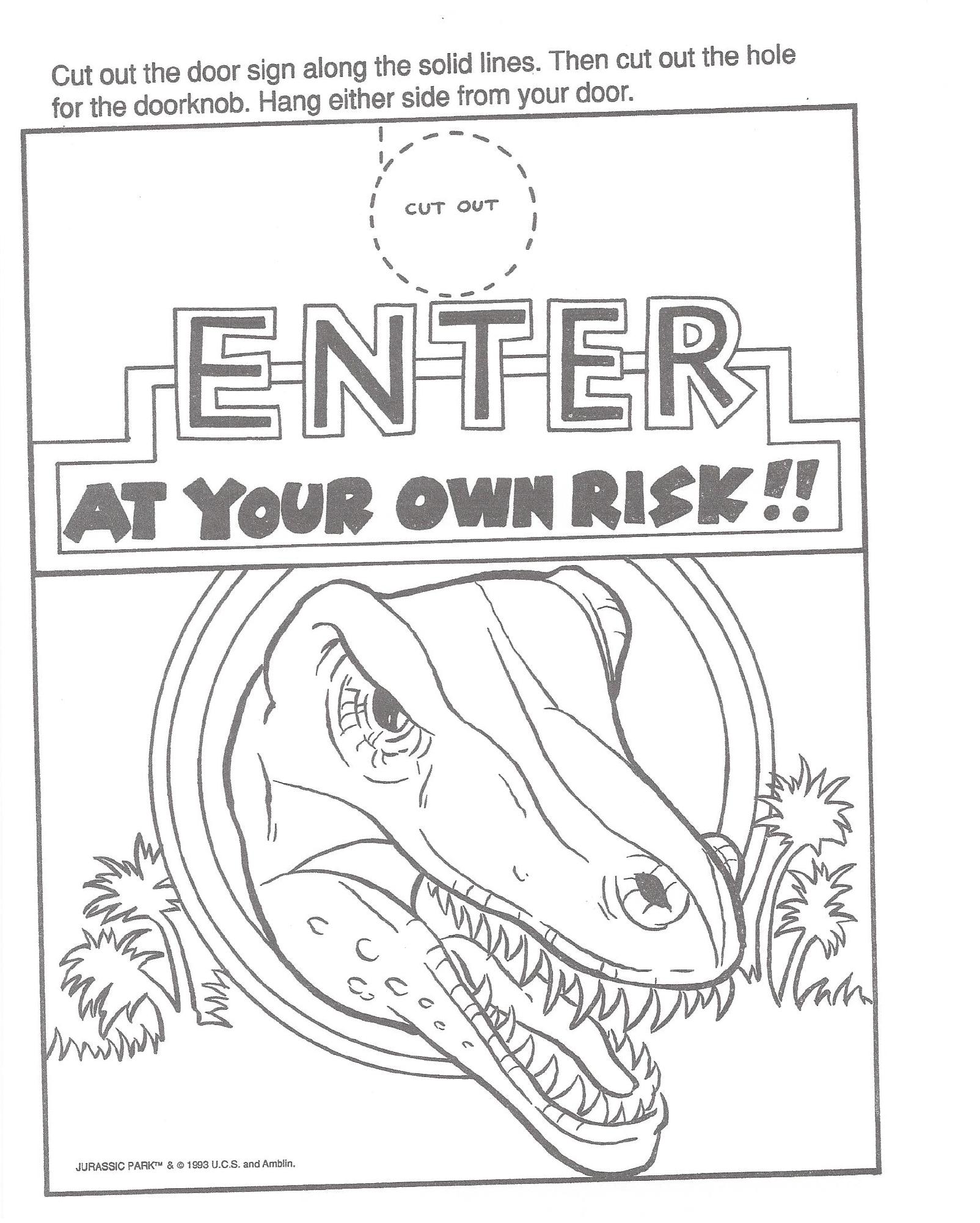 jurassic park a big color and activity book door hangerpng - Jurassic Park Coloring Book