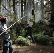Owen and Zia(?) in the forest JW- Dominion BTS