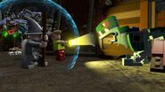 Lego Dimensions Shaggy getting scared of Blue the Velociraptor from Jurassic World