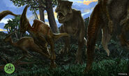 T-rex hunting parasaurolophus