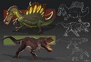 JW- Camp Cretaceous T. rex and Spinosaurus Concept Art