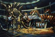 Visitor Center rotunda raptor attack concept