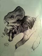 Jurassic park concept art hatchling triceratops by indominusrex-dbouiwb