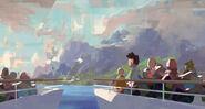 Camp Cretaceous Arriving to the Island Concept Art