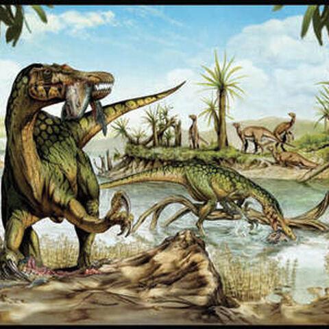 Zwei <i>Baryonyx</i> bei der Jagd.