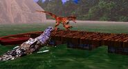 Deinosuchus atacando raptor