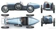 Bugatti Type 35 (1927 version in 4 views)