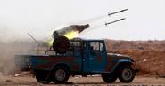 Rocket-artillery technical (firing)
